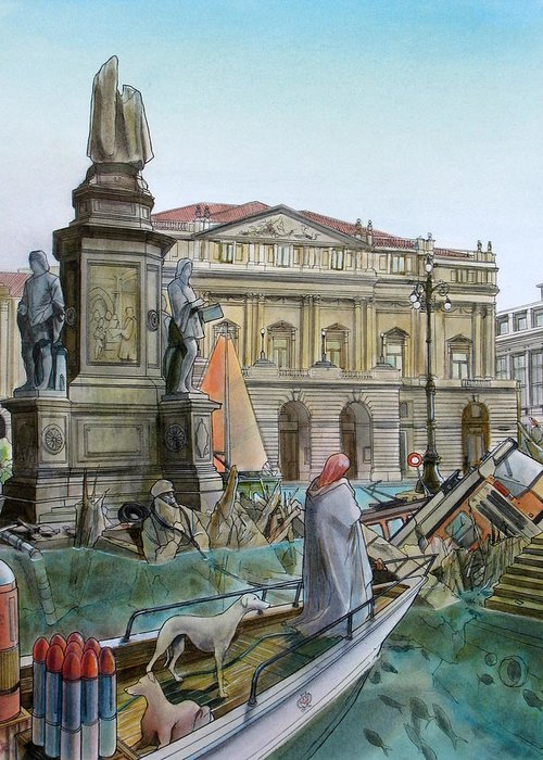 Milan Greeting Card featuring the painting City Of Milan In Italy Under Water by Fabrizio Cassetta