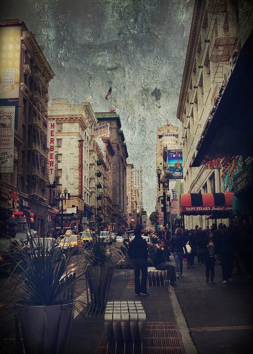 San Francisco Greeting Card featuring the photograph City Sidewalks by Laurie Search