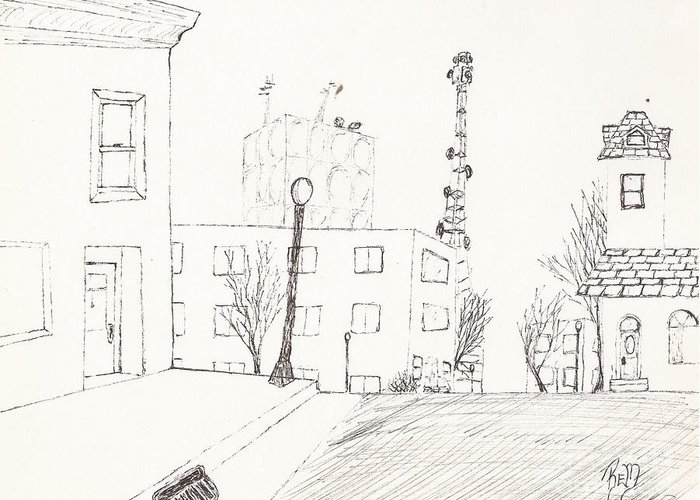 City Street Greeting Card featuring the drawing City Street - Sketch by Robert Meszaros