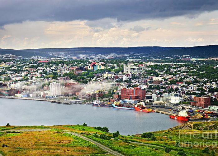 Signal Hill Greeting Card featuring the photograph Cityscape Of Saint John's From Signal Hill by Elena Elisseeva