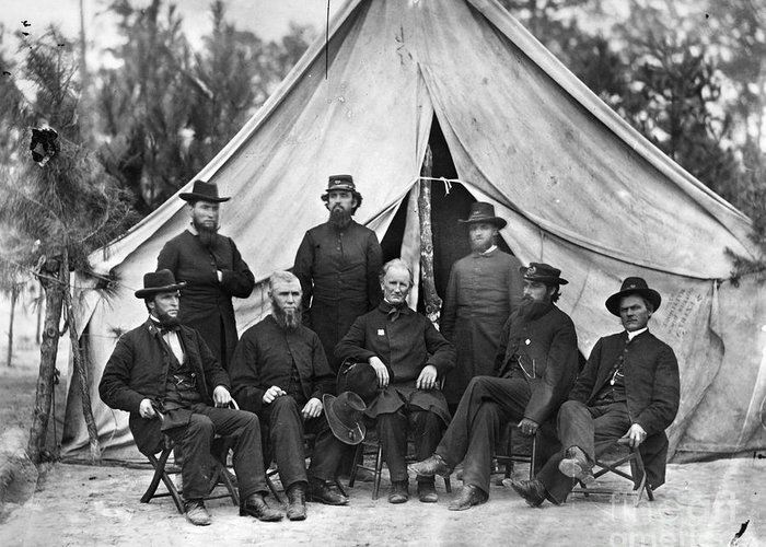 1864 Greeting Card featuring the photograph Civil War: Chaplains, 1864 by Granger