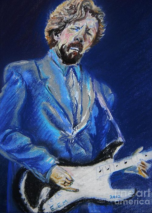 Clapton Greeting Card featuring the pastel Clapton Jams Blue by Emily Michaud