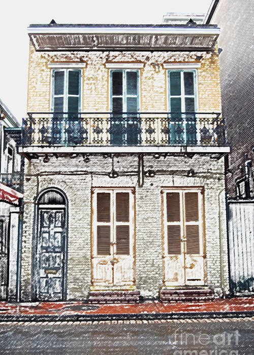 New Orleans Greeting Card featuring the digital art Classic French Quarter Residence New Orleans Colored Pencil Digital Art by Shawn O'Brien