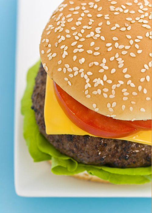 Barbecue Greeting Card featuring the photograph Classic Hamburger With Cheese Tomato And Salad by Ulrich Schade