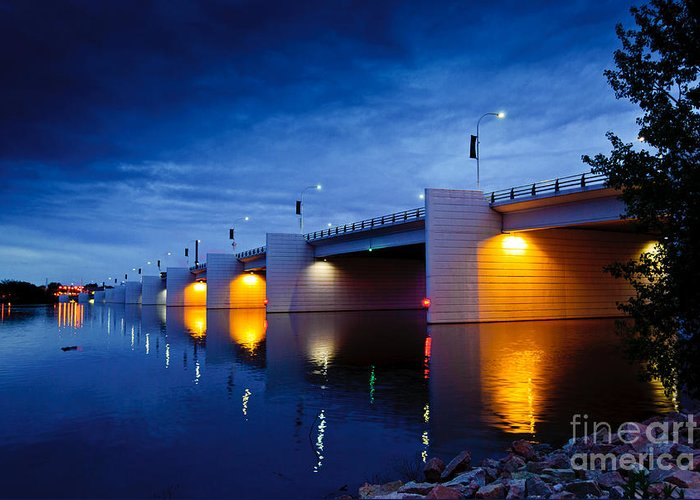 Claude Allouez Bridge Greeting Card featuring the photograph Claude Allouez Bridge At Nightfall by Ever-Curious Photography
