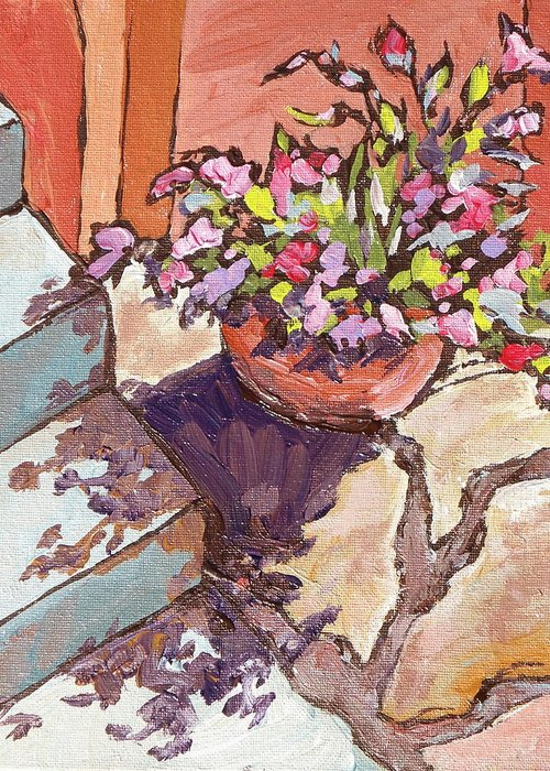 Steps Greeting Card featuring the painting Clay Pot by Sandy Tracey