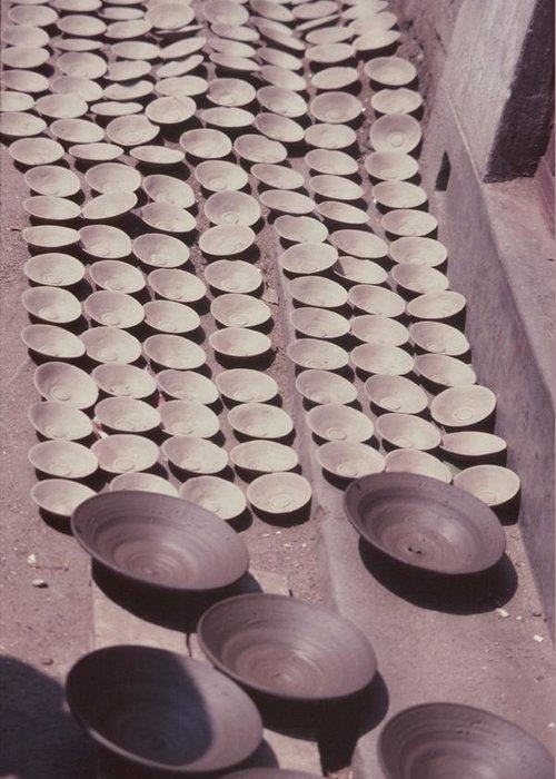 Hand-thrown Pottery Greeting Card featuring the photograph Clay Yogurt Cups Drying In The Sun by David Sherman