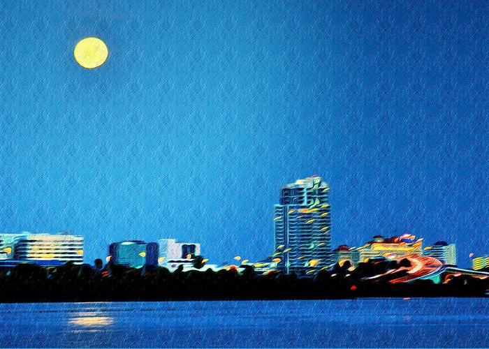 Clearwater At Night Greeting Card featuring the photograph Clearwater At Night by Bill Cannon