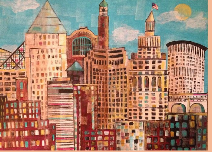 Original Greeting Card featuring the painting Cleveland by Kelli Perk