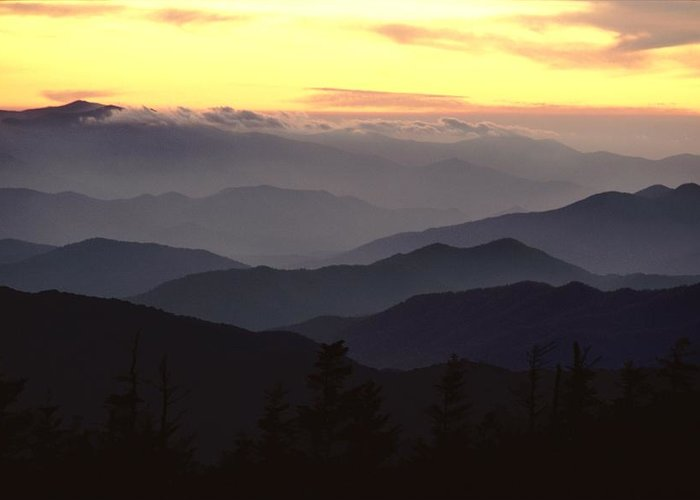 Twilight Greeting Card featuring the photograph Clingmans Dome Is The Highest Point by James P. Blair