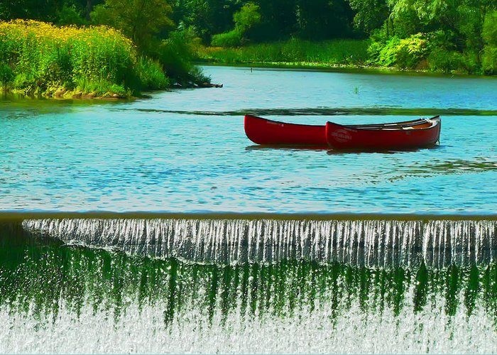 Bank Greeting Card featuring the photograph Clinton Canoes by Artistic Photos