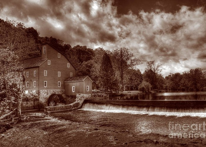 Sepia Greeting Card featuring the photograph Clinton Red Mill House Sepia by Lee Dos Santos