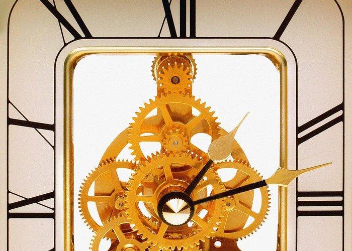 Clock Greeting Card featuring the photograph Clock Mechanism by Victor De Schwanberg