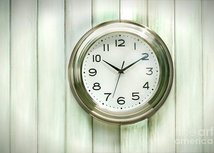 Analog Greeting Card featuring the photograph Clock On The Wall by Sandra Cunningham