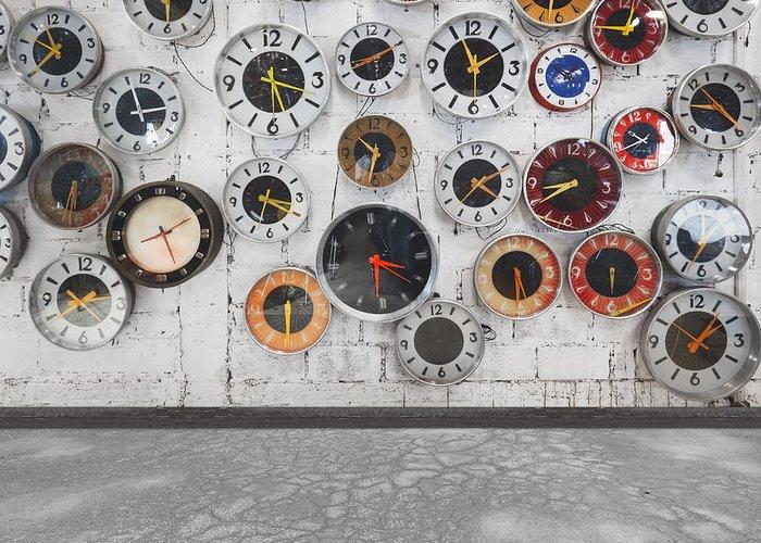 Aged Greeting Card featuring the photograph Clocks On The Wall by Setsiri Silapasuwanchai
