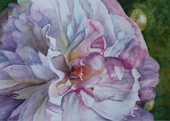 Close Up Floral Greeting Card featuring the painting Close Focus Peony by Patsy Sharpe