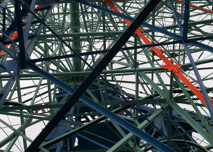 Ferris Wheel Greeting Card featuring the photograph Close-up Of Ferris Wheel Mechanism by Todd Gipstein