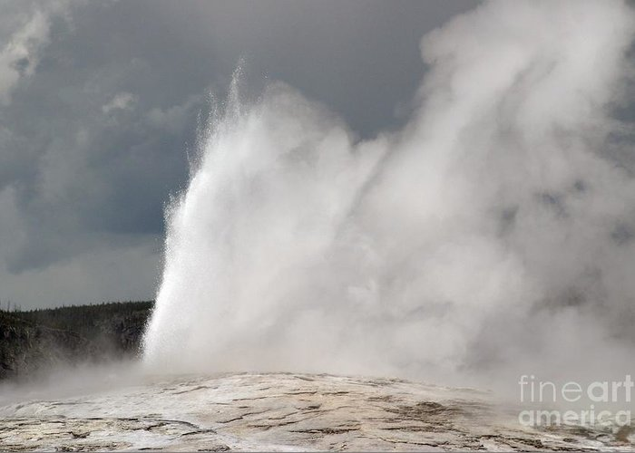 Old Faithful Greeting Card featuring the photograph Close Up Of Old Faithful by Living Color Photography Lorraine Lynch