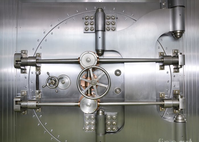 Architectural Greeting Card featuring the photograph Closed Door To A Bank Vault by Adam Crowley