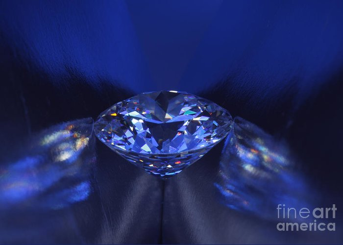 Abundance Greeting Card featuring the jewelry Closeup Blue Diamond In Blue Light. by Atiketta Sangasaeng