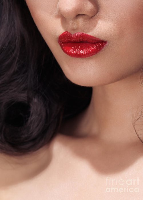 Lips Greeting Card featuring the photograph Closeup Of Woman Red Lips by Oleksiy Maksymenko