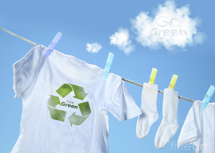 White Greeting Card featuring the photograph Clothes Drying On Clothesline With Go Green Sign by Sandra Cunningham