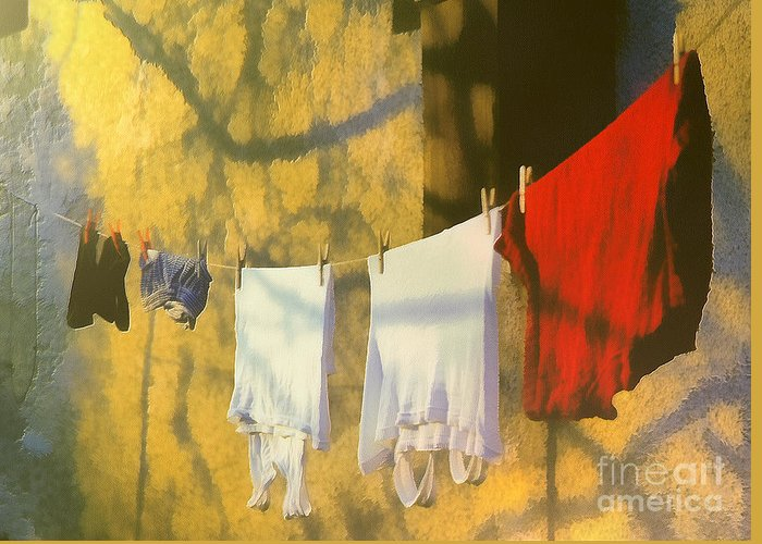 Odon Greeting Card featuring the painting Clothing by Odon Czintos