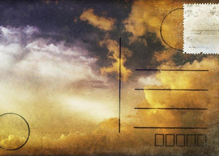 Address Greeting Card featuring the photograph Cloud In Sunset On Postcard by Setsiri Silapasuwanchai