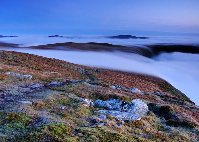 English Greeting Card featuring the photograph Cloud Waterfalls Bannerdale Crags by Stewart Smith
