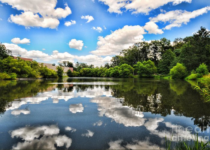 Clouds Greeting Card featuring the photograph Clouds Reflection On Water by Paul Ward