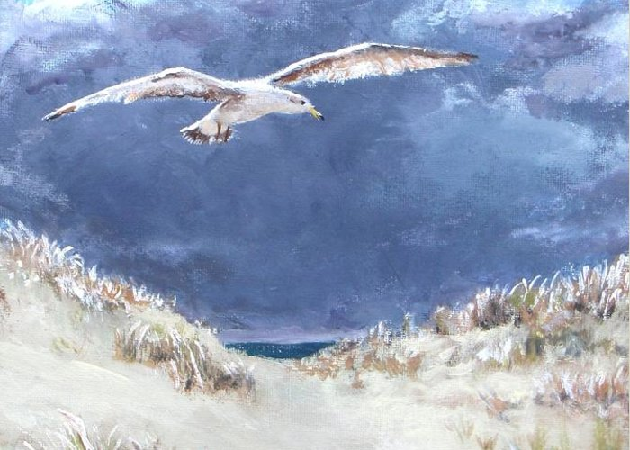 Seagull Greeting Card featuring the painting Cloudy With A Chance Of Seagulls by Jack Skinner