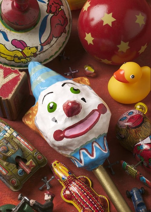 Toys Greeting Card featuring the photograph Clown Rattle And Old Toys by Garry Gay