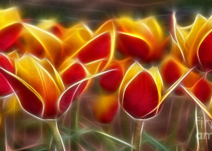 Cluisiana Tulips Greeting Card featuring the digital art Cluisiana Tulips Fractal by Peter Piatt