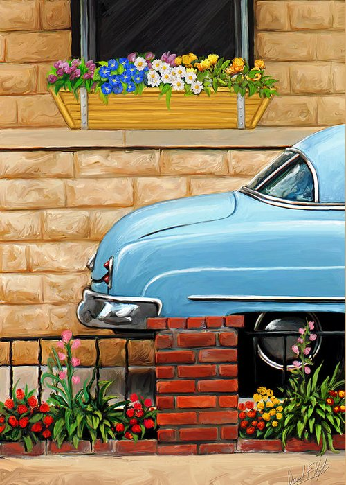 Old Car Greeting Card featuring the painting Clunker In The Garden by David Kyte