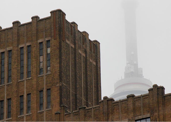 Toronto Greeting Card featuring the photograph Cn Tower In Fog by Andrew Fare