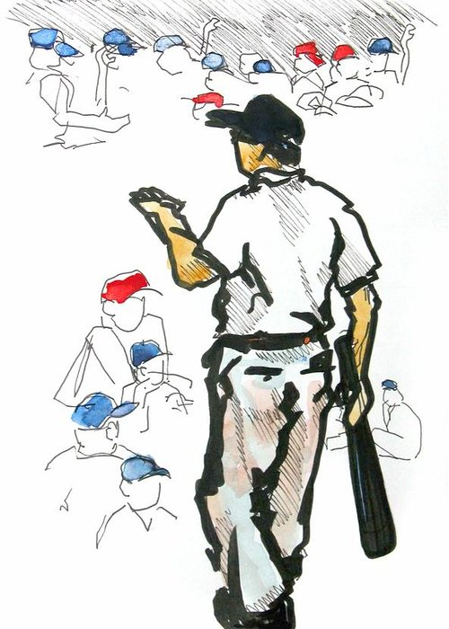 Baseball Greeting Card featuring the drawing Coach Mac Teaching The Younglings by David Beers