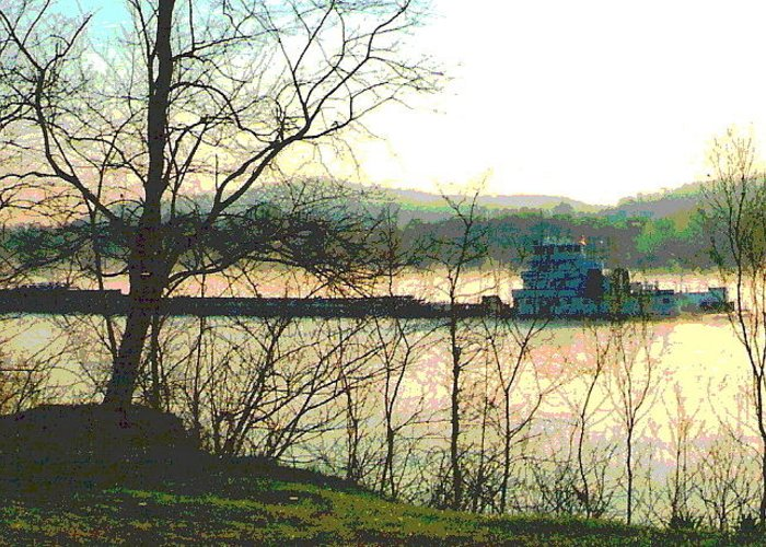 Coal Barge Greeting Card featuring the photograph Coal Barge In Ohio River Mist by Padre Art
