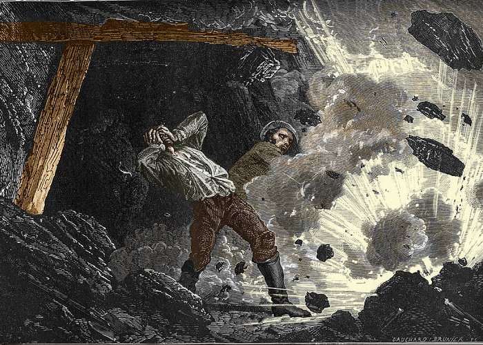 Disaster Greeting Card featuring the photograph Coal Mine Explosion, 19th Century by Sheila Terry