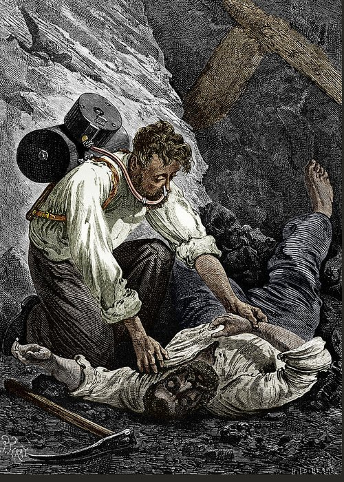 Rouquayrol Greeting Card featuring the photograph Coal Mine Rescue, 19th Century by Sheila Terry