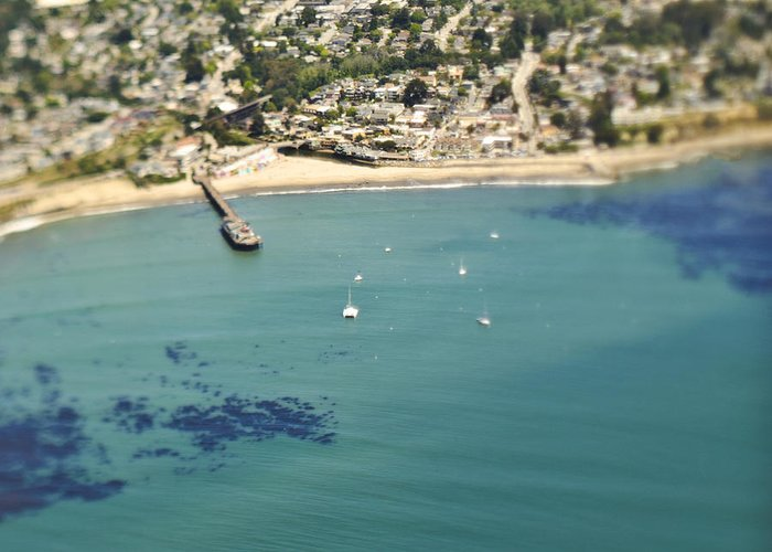 Aerial Greeting Card featuring the photograph Coastal Community And Sailboats by Eddy Joaquim