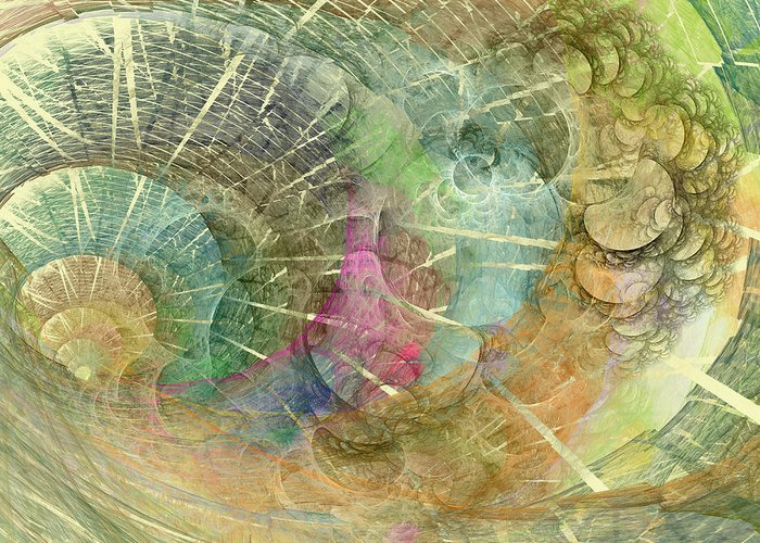Fractal Greeting Card featuring the digital art Coastal Cosine Gem by Betsy Knapp