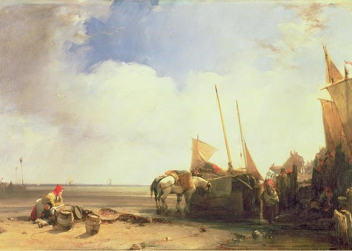 Beach Greeting Card featuring the painting Coastal Scene In Picardy by Richard Parkes Bonington