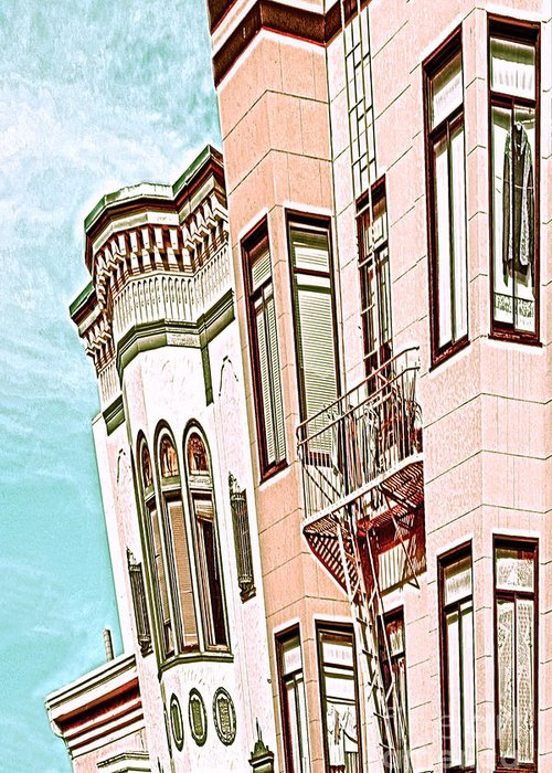 San Francisco Greeting Card featuring the digital art Coat In The Window by Artist and Photographer Laura Wrede