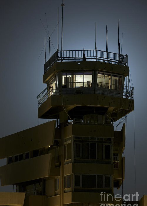 Night Greeting Card featuring the photograph Cob Speicher Control Tower by Terry Moore