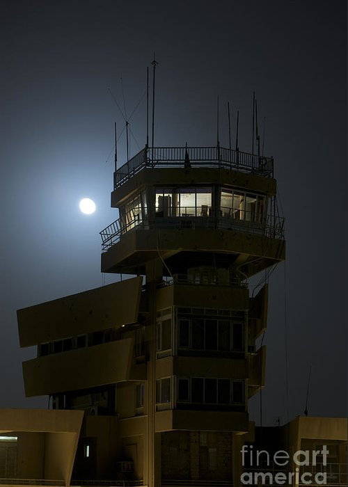 Control Towers Greeting Card featuring the photograph Cob Speicher Control Tower Under A Full by Terry Moore