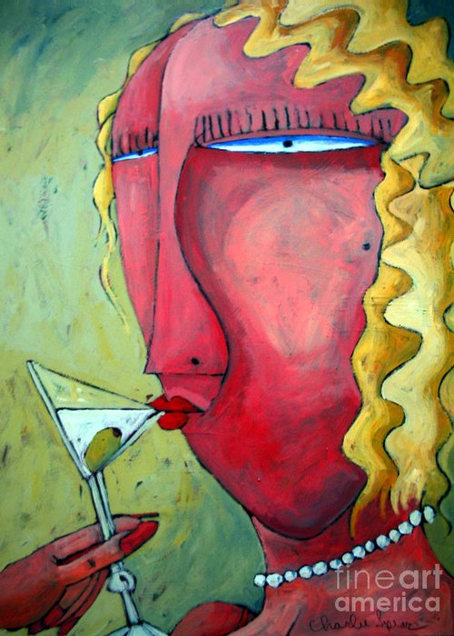Cocktails Greeting Card featuring the painting Cocktail Hour by Charlie Spear