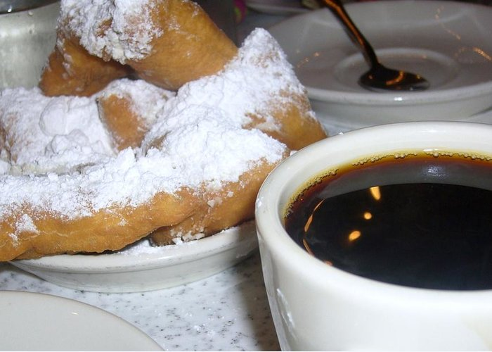 Coffee Greeting Card featuring the photograph Coffee And Beignets French Quarter New Orleans by Nancy Mitchell