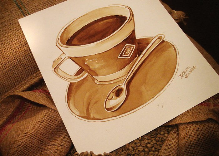 Coffee Cup Greeting Card featuring the painting Coffee Cup by Dirceu Veiga