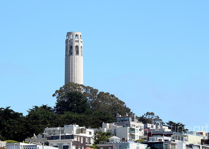 Coit Greeting Card featuring the photograph Coit Tower by Henrik Lehnerer