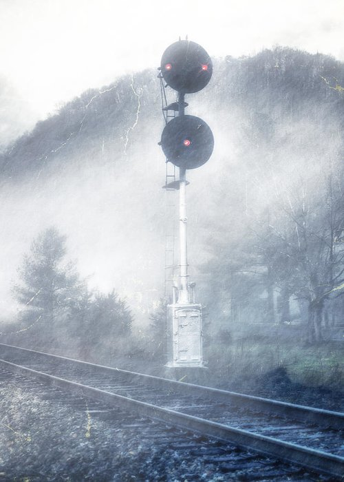 Tracks Greeting Card featuring the photograph Cold And Foggy by Kathy Jennings